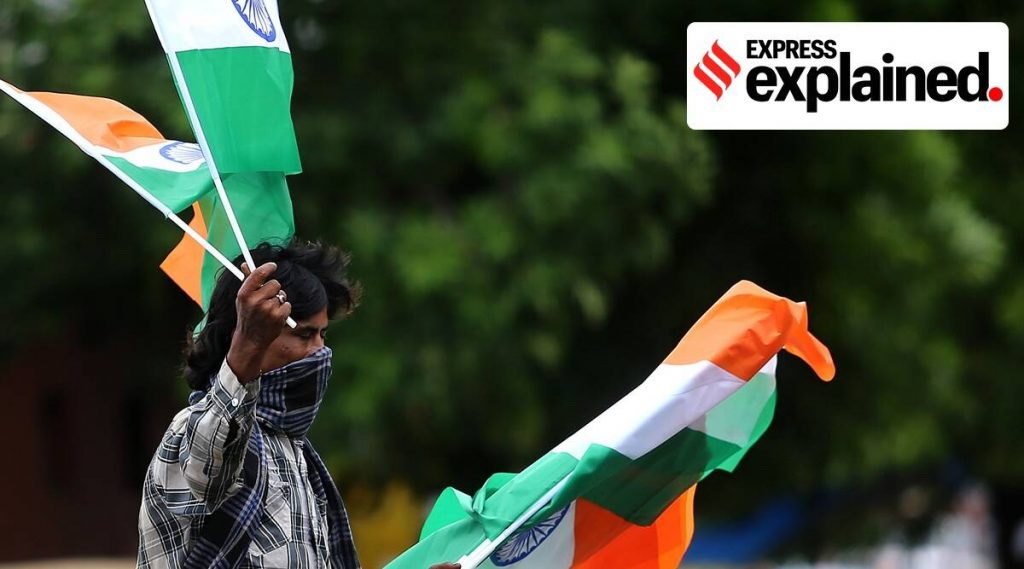A street vendor sells the Indian national flag in Ahmedabad. (Express Photo: Nirmal Harindran, File)