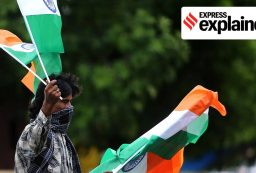 A street vendor sells the Indian national flag in Ahmedabad. (Express Photo: Nirmal Harindran, File)